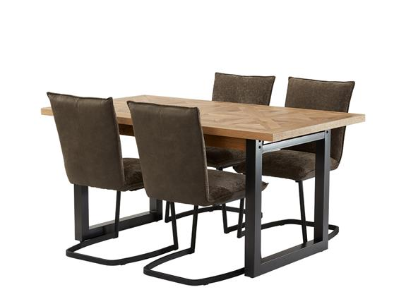 Forged Oak Dining Table 4 Alta Chairs, Metal Dining Room Chairs